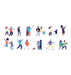 people in winter men and women skiing skating vector image