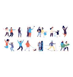 people in winter men and women skiing skating vector image
