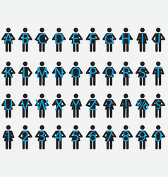 Pictogram people holding letters vector image
