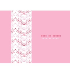 Pink lineart leaves chevron horizontal seamless vector image