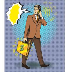pop art businessman talking vector image