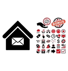 Post Office Flat Icon with Bonus vector