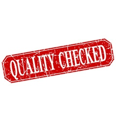 Quality checked red square vintage grunge isolated vector