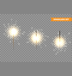 realistic christmas sparkler collection on vector image