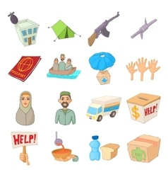 Refugees icons set cartoon style vector