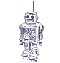 robot hand drawn vector image