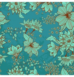 seamless blue floral background vector image