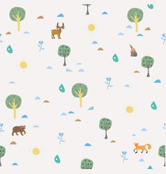 Seamless summer pattern with forest animals vector