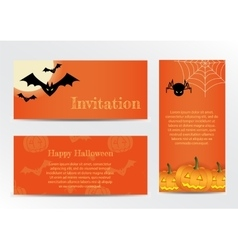 Set of Inventations on Halloween Party in the vector image