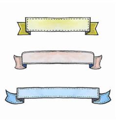 set watercolor ribbon banners vector image