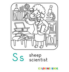 Sheep scientist coloring book animal alphabet s vector