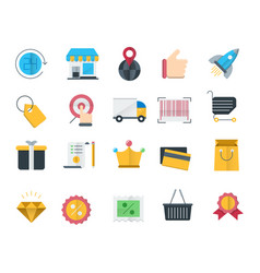 Shopping and retail icons set vector