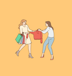 shopping competition fighting concept vector image