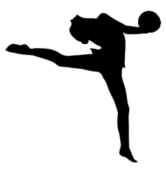 Silhouette girl gymnast with the ball vector