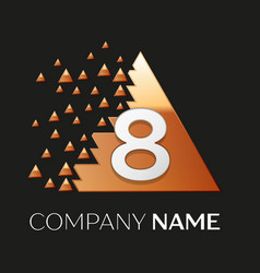 silver number eight logo in pixel triangle shape vector image