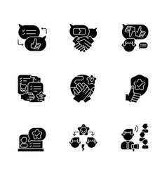 soft skills black glyph icons set on white space vector image