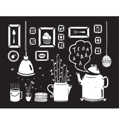 Teapot Lamp Vase Kitchen Still Life Art Frames on vector