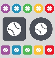 Tennis ball icon sign A set of 12 colored buttons vector image