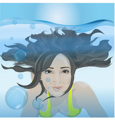 The girl swims under the water vector