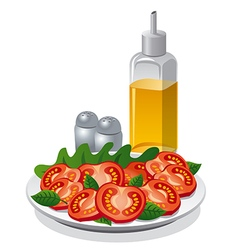 tomatoe salad and cooking oil vector image