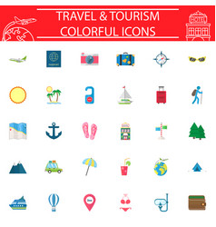 travel flat icon set travel symbols collection vector image