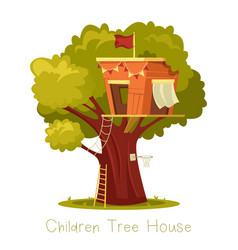 Tree with children house or oak with construction vector