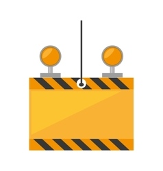 under constuction board hanging cable light vector image