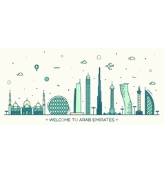 United Arab Emirates skyline flat style vector