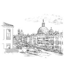 Venice skyline hand drawing vector