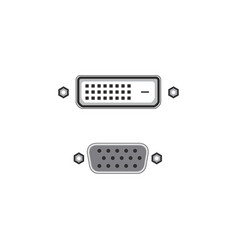 Vga and dvi port or connector stock isolated on vector