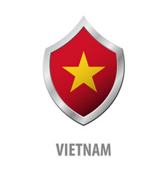 vietnam flag on metal shiny shield vector image