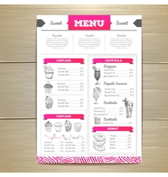 Vintage dessert menu design vector