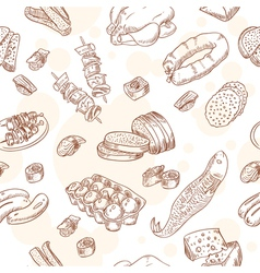 Vintage hand-drawn food set seamless pattern vector