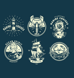 vintage marine and sea labels vector image