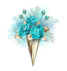 Waffle cone with turquoise roses vector