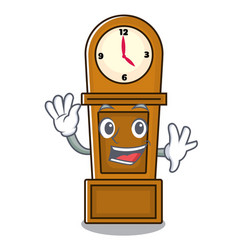 Waving grandfather clock character cartoon vector