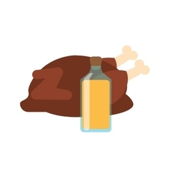 whole chicken and juice bottle icon vector image