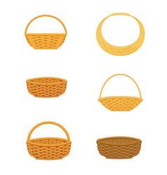 Wicker basket set vector