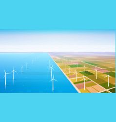 Wind turbine energy renewable water station field vector