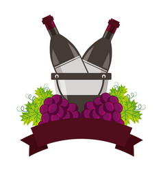 wine bottles ice bucket and grapes vector image