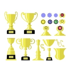 Winners cup Set of different golden bowls and vector