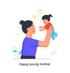 woman plays with her little daughter vector image