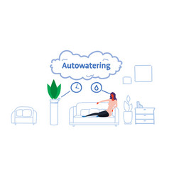 woman sitting couch using auto watering vector image