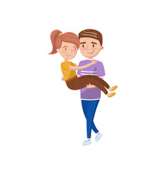 young man carrying woman on hands happy couple vector image