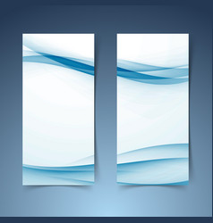 Blue abstract soft smooth hi-tech line banner vector