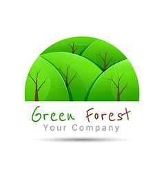 Concept graphic white abstract green tree forest vector