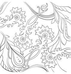 floral pattern drawn in a line art stylecoloring vector image