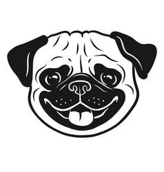 pug dog black and white hand drawn cartoon vector image