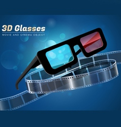 3d glass movie cinema object vector image vector image