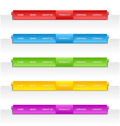 Colorful folded paper navigation menu vector image vector image